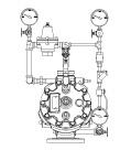 Model B-3 & B-4 Pilot Operated Pressure Regulating Valve, Straight Through Halar® Coated, Brass Trim